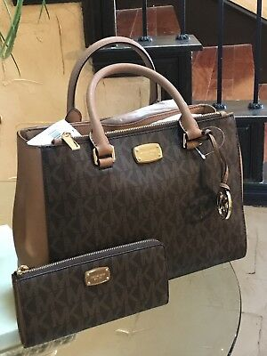 NWT MICHAEL KORS PVC KELLEN MEDIUM SATCHEL BAG +JET SET WALLET LG 3 QTR IN BROWN