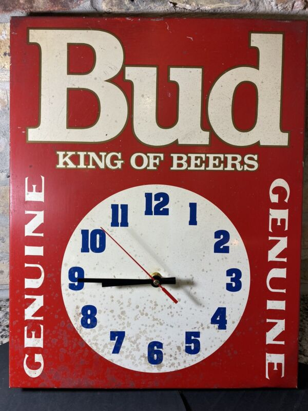Vintage Budweiser Bud King Of Beer Metal Clock Sign Signet Graphics Rare! Works!