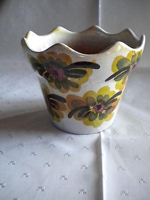 Blumen Übertopf Kelchform Blütendekor Tisch Deko gelb orange schwarz neuwertig (Dekor-tisch Wohnzimmer)