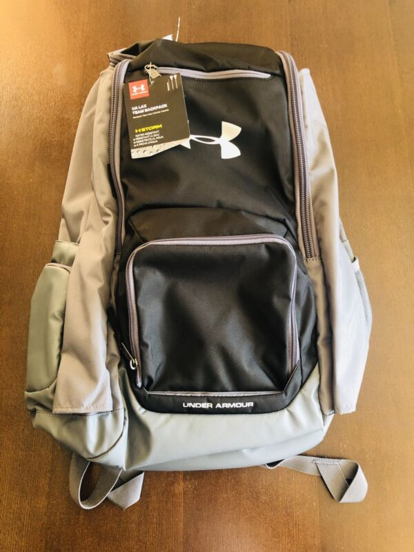UNDER ARMOUR BLACK AND GRAY LAX TEAM BACKPACK LACROSSE LARGE