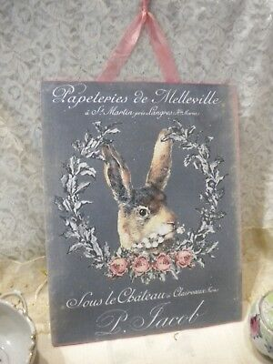 "Shabby Chic / Old-time / French Hare Hanging Plaque 8"" x 10"""