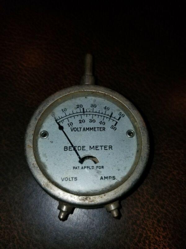 Vintage Beede Chrome Volt Meter 0-50 Steampunk Unknown working condition