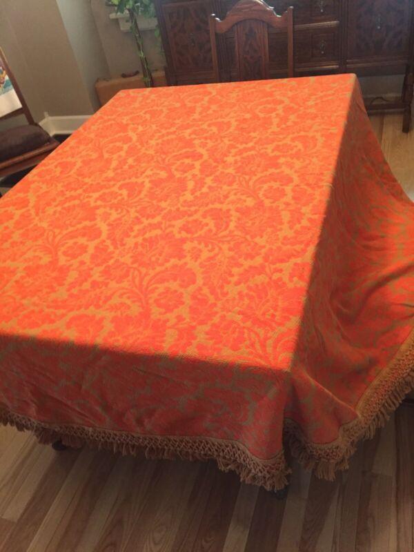 "Vintage Bates Jacquard Brocade Orange Gold 90"" Tablecloth With Fringe Boho 70's"