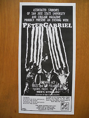"PETER GABRIEL - 1978 CONCERT POSTER at San Jose State, California (15""x8"") RARE!"