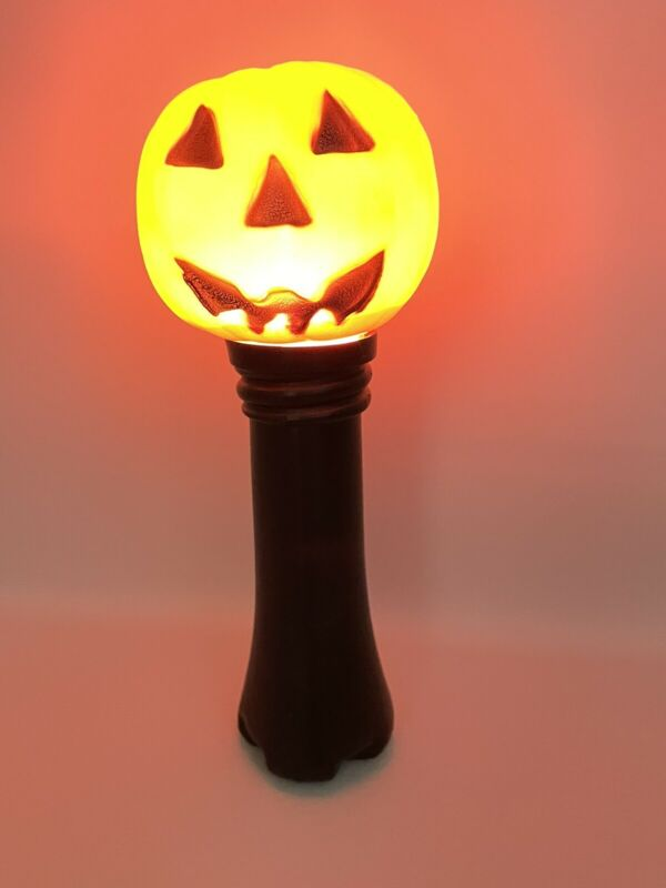 Vintage Halloween Blow Mold Blinky Lite Flashlight Light Jack o Lantern Pumpkin