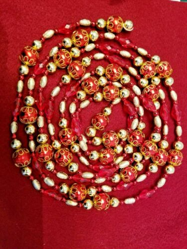 """108"""" LARGE RED & GOLD PLASTIC BEADED CHRISTMAS GARLAND W/ FILAGREE CAPS"""