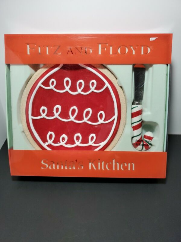 Fitz And Floyd Christmas Santas Kitchen Snack Plate & Spreader 2005  *New*  C