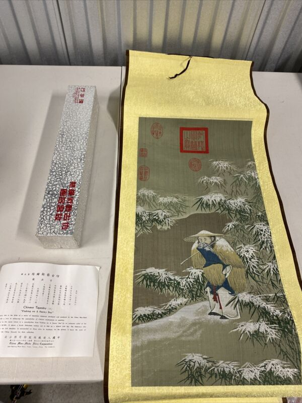 """Vintage Chinese Tapestry """"Fishing On A Snowy Day"""""""