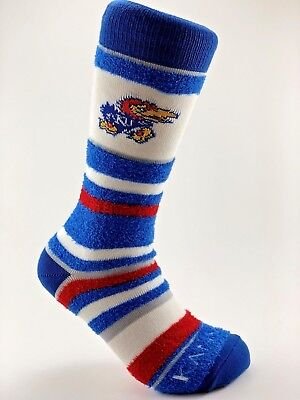 Official NCAA College Kansas Jayhawks Soft Stripe Crew Socks Medium - Kansas Jayhawks Ncaa Stripes