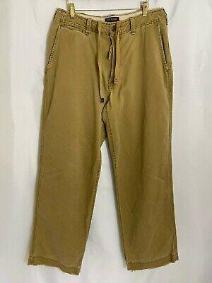 Men's Abercrombie and Fitch Drawstring Khaki Pant - 100% Cotton 33 x 32