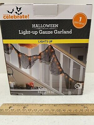 Way To Celebrate 35 Garland Style Orange Mini Lights On Black Wire Halloween