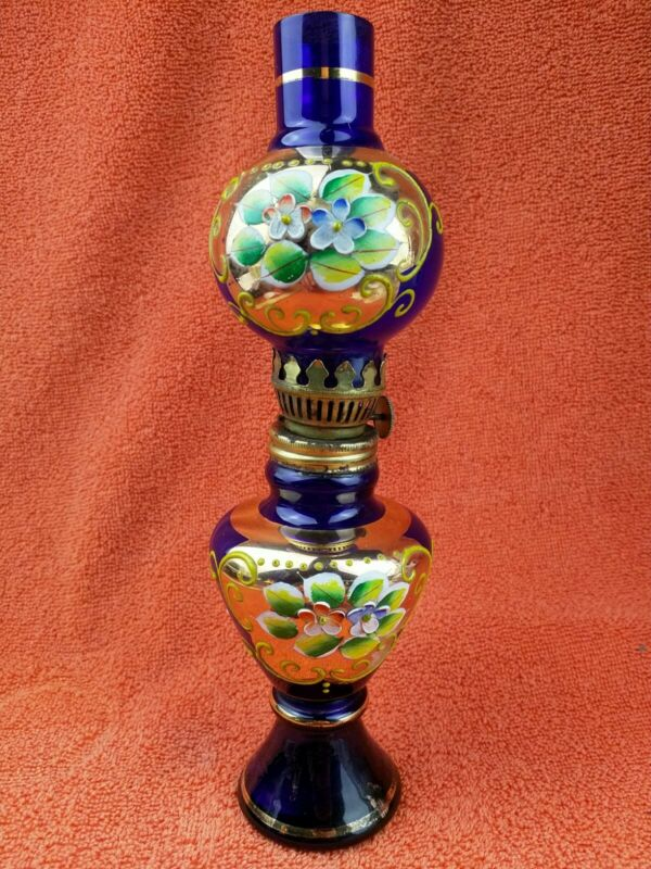 Vintage Czech Bohemian Art Glass Oil Lamp Hand Painted Blue and Gold