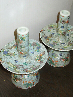 RARE Chinese Antique Pair Candle Holders All-Body Handpainted - Gorgeous