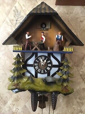 Vintage E. Schmeckenbecher Cuckoo Clock Musical Chalet Animated Music W Germany