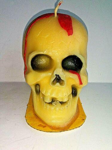 """Unused Vintage Suni Candle Made/USA Halloween Skull Skeleton Candle Blood 4.5"""""""