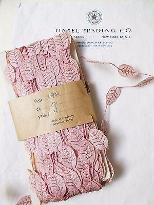1yd Vintage/Antique Pink  Millinery Leaves w/Gold Metallic Veins Trim Ribbon