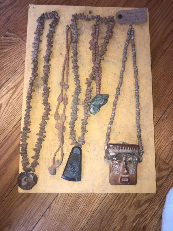 Pre-Columbian Carved Jade Maskette Lot 5  Necklace Pendants Maskette Disk