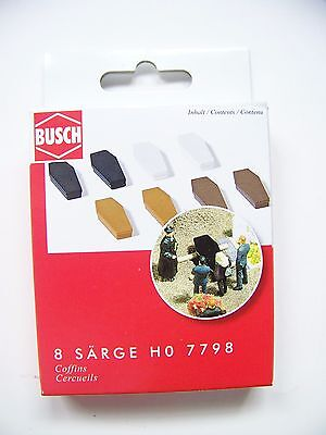 HO Busch 1:87 scale EIGHT COFFINS Model Detail KIT for Cemetery Diorama # 7798