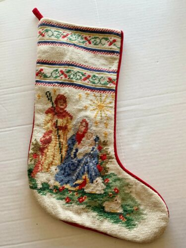 Vtg Imperial Elegance Christmas Stocking Nativity Holy Family Wool Needlepoint