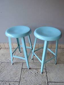 Pair of Retro Metal Stools in Teal Wollongong Wollongong Area Preview