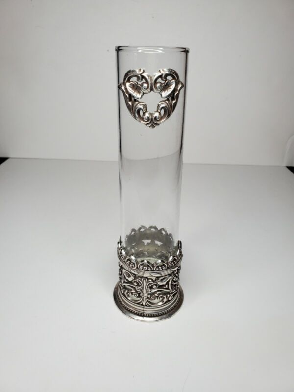 "BRIGHTON Heart Pierced BUD VASE ~ Silverplate & Glass, 7.7"" Tall, No Chips"