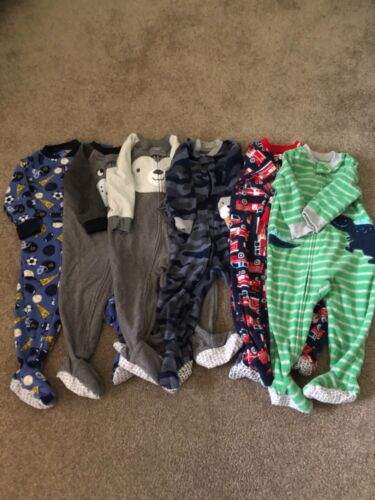 Carters baby boy lot 6 footed pajamas 12 months