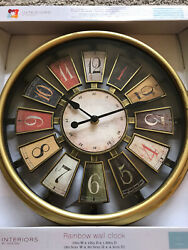 Gold Wall Clock 12x12x2 Interiors by Design Rainbow Multi Color Brand New!