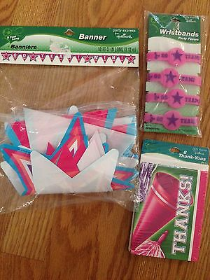 NEW HALLMARK CHEERLEADER PARTY supplies Thank you cards BANNER  bracelets FAVORS - Cheerleader Supplies