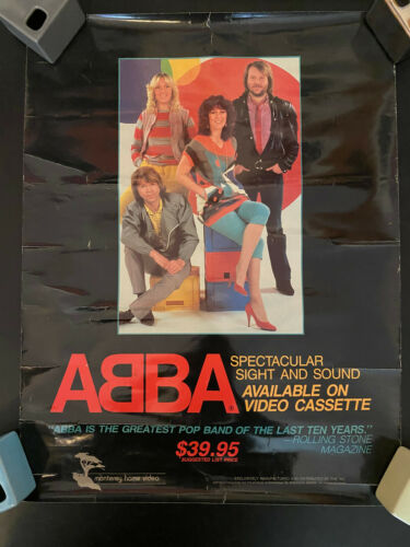 ABBA Sight & Sound VHS promo rolled poster with wear read description 1981