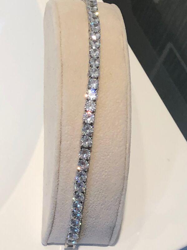 Tennis Bracelet Amazing Sparkle 16ct classic Natural Quartz Cushion Diamond