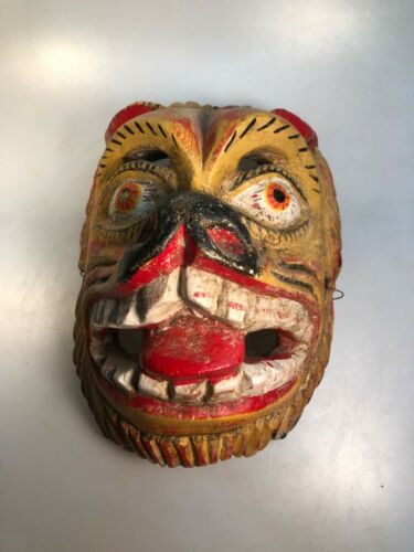 Vintage Mexican Parade/Ceremony Mask - Tiger Animal Mask, Tongue out