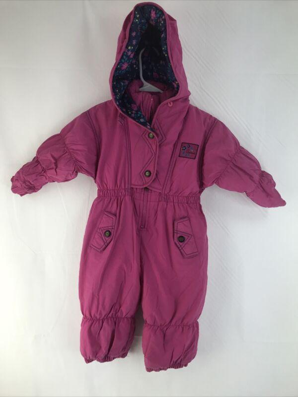 Oshkosh B'Gosh(Kids) Girls Size 3T M Hooded Pink Snowsuit Jumpsuit 100% Nylon