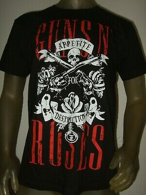Men's M-XXL Guns N Roses Appetite For Destruction Skull 80's Rock Band Shirt GNR - 80s Attire Male