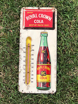 Vintage 1950's RC Royal Crown Cola Soda Pop Embossed Metal Thermometer Sign