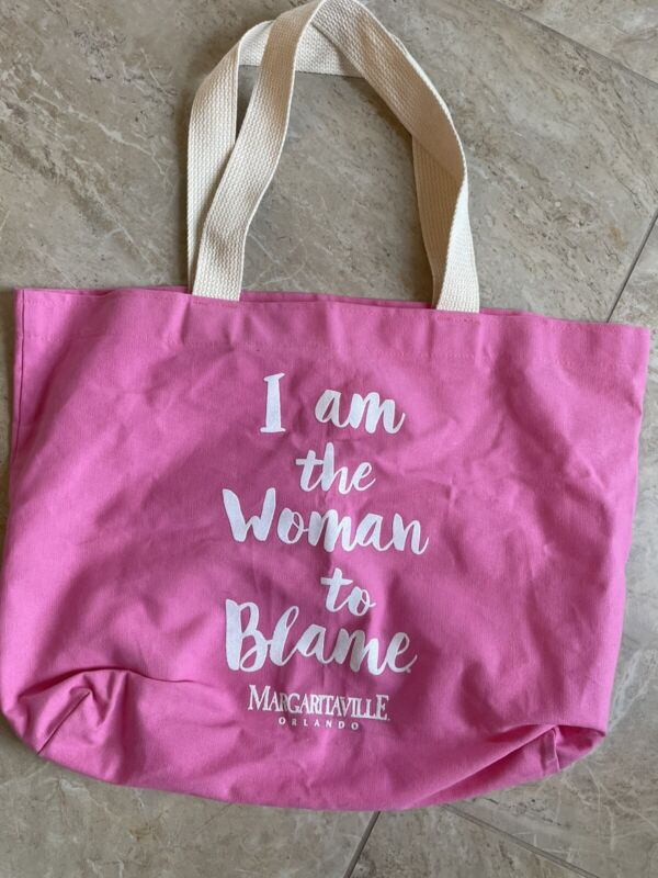 "Margaritaville Orlando ""I am the Woman to Blame"" Canvas Bag Tote Pink Large"