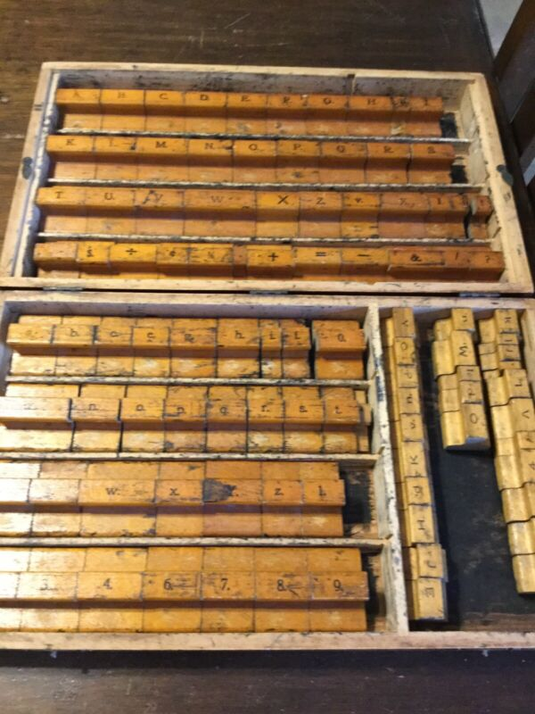 Antique Wooden Letterpress Box With Wooden Stamps