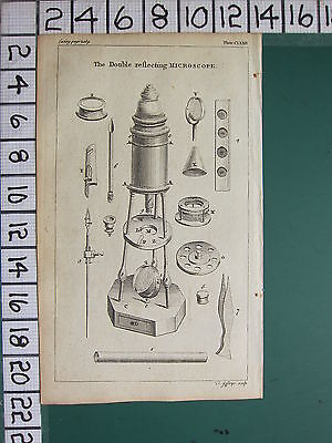 1754 ANTIQUE PRINT ~ DOUBLE REFLECTING MICROSCOPE VARIOUS APPARATUS