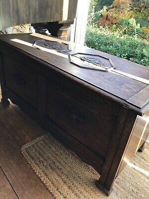 Antique oak chest original victorian travel cool box - storage chest/tv stand