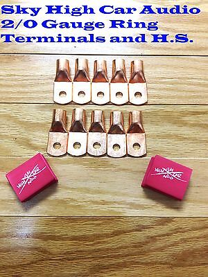 10 20 Gauge Copper Ring Terminals W Red Heat Shrink Tubing Lugs 38