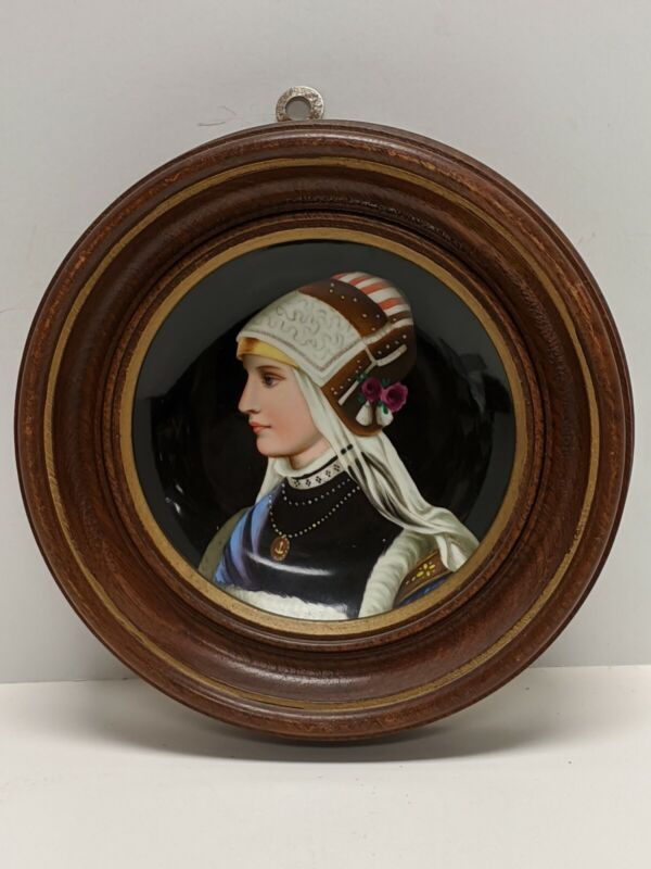 ANTIQUE HAND PAINTED PORCELAIN PORTRAIT PLATE YOUNG WOMAN FRAMED AND SEALED