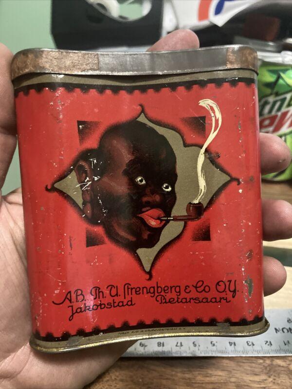 Vintage Very Rare Record Tobacco Tin Finland Politically Incorrect Great Graphic