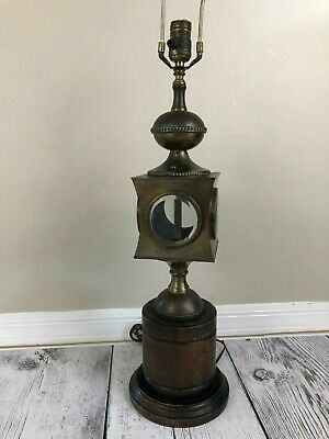 Cooper Metal Table Lamp (Frederick Cooper Table Lamp Bronze Metal Wood & Glass Carriage Nautical Lantern )