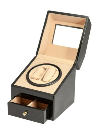 BLACK Glossy Wood Automatic Watch Winder 2+2 Cabinet Box Quiet Rotation