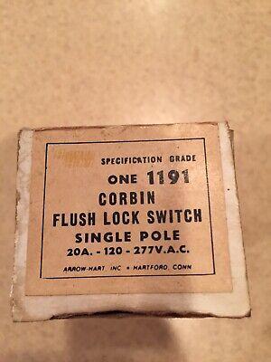 Corbin Flush Lock Switch One 1191 Single Pole 20a-120-277v.a.c.