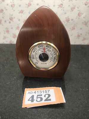 Vintage TIM Yew Wood Desk Weather Station German Wooden Barometer Thermometer