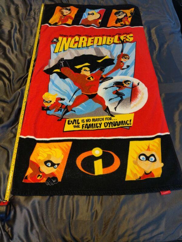 "Beach Bath Towel RARE Disney Pixar The Incredibles Heroes Kids Bath 54""X 29"""
