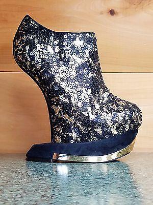 Privileged Terina Gold & Black Heel Less Wedge Sequin Bootie Platform Shoe - Sequin Platform Wedge