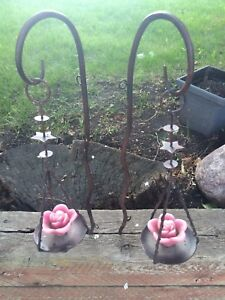 Outdoor wrought iron candle holders $10