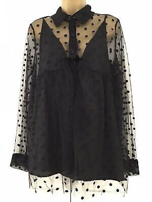 Black Sheer Polka Dot Mesh Blouse With Camisole Size 12 - Jovonna London