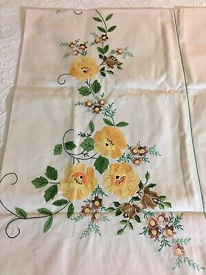 Southwestern hand painted tablecloth brown and orange linen measures 35 x 35